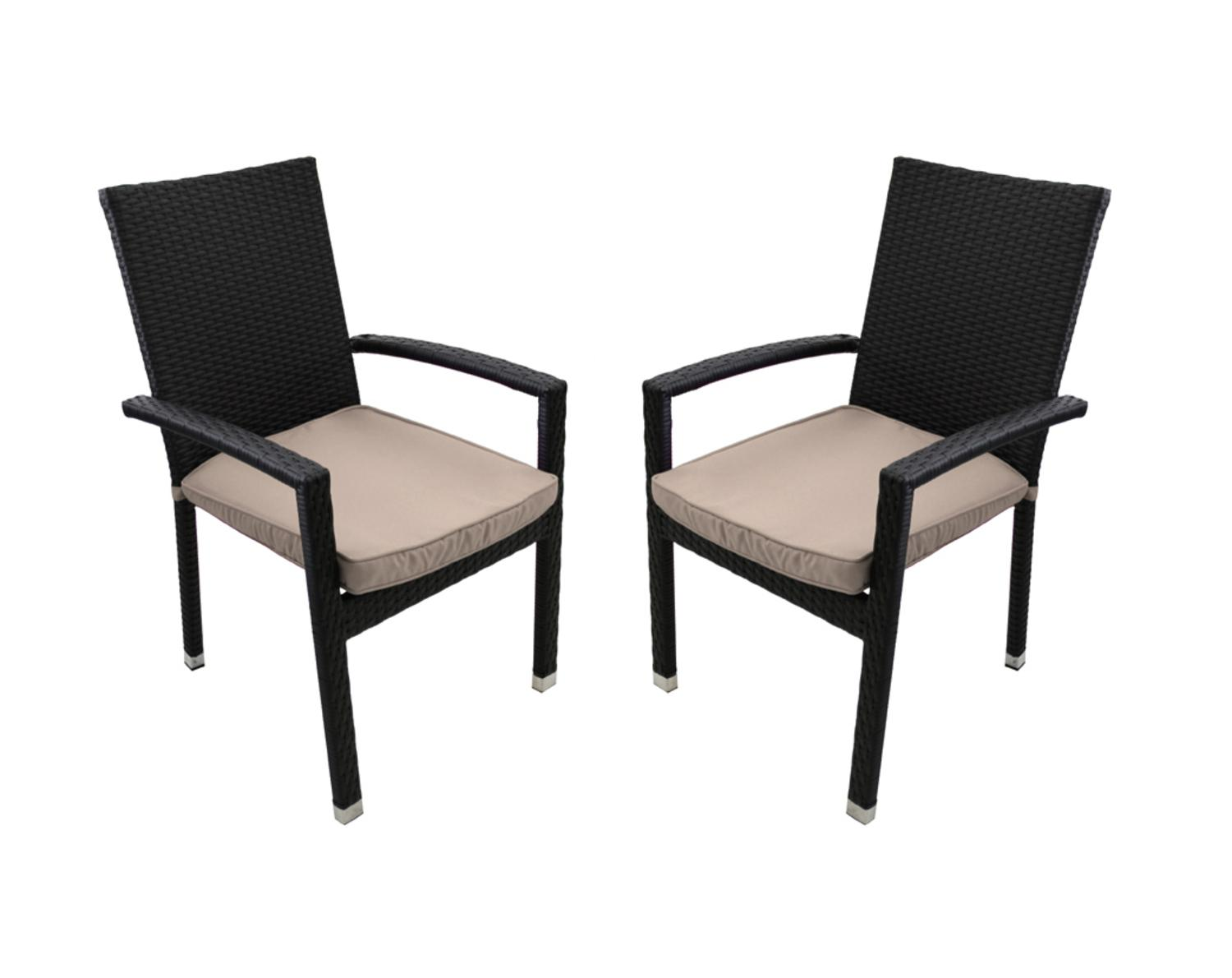 Set-of-2-Black-Resin-Wicker-Outdoor-Patio-Furniture-Dining