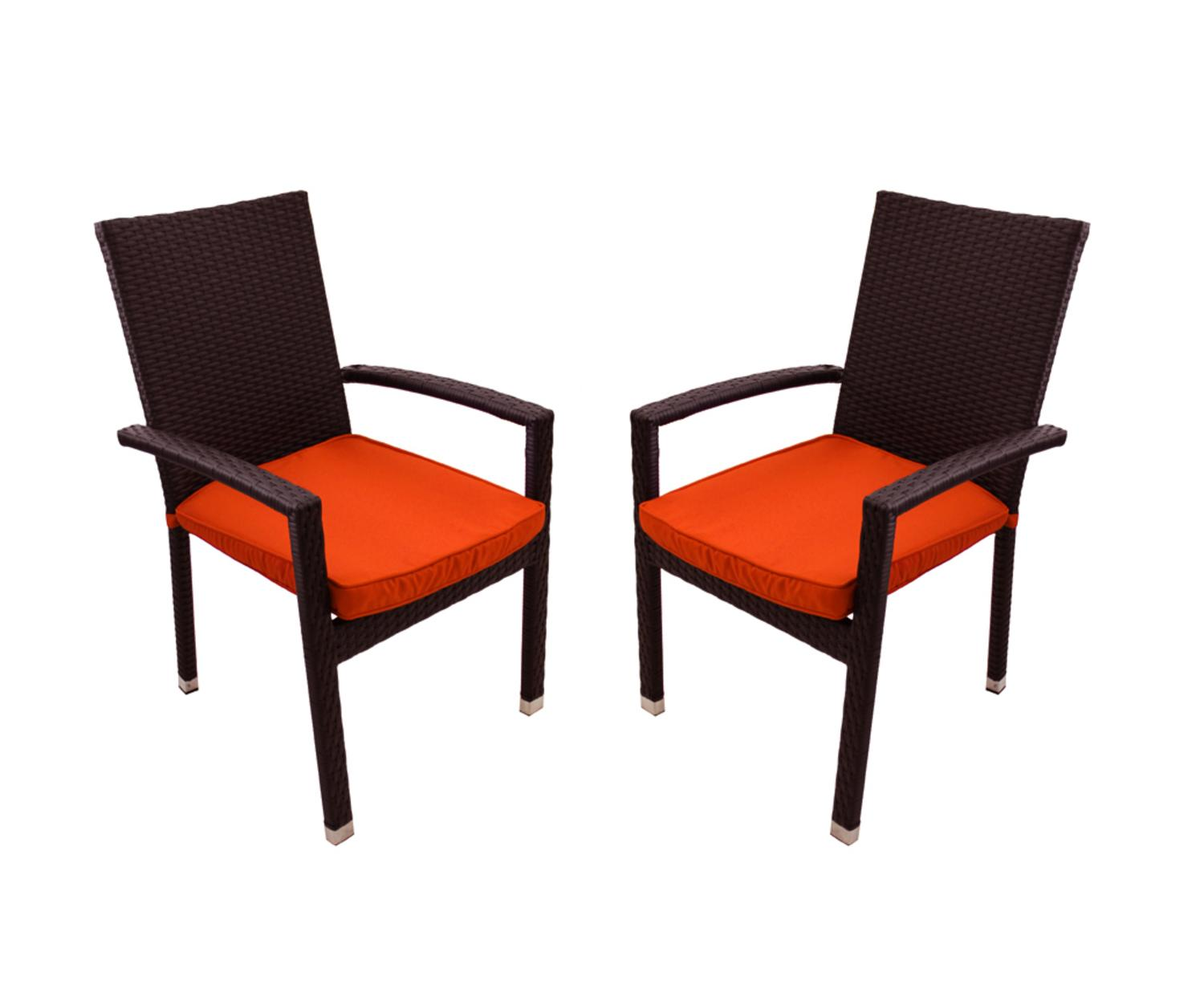 Set Of 2 Black Resin Wicker Outdoor Patio Furniture Dining Chairs Orange Cushions Hope And