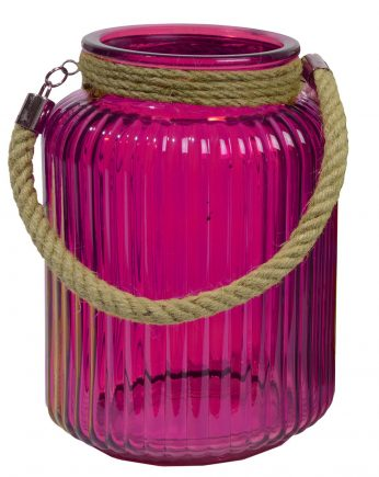 "10"" Tropicalia Electric Cotton Candy Pink Pillar Candle Holder or Storage Jar"