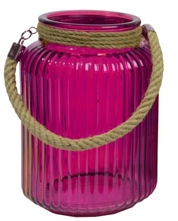 """10"""" Tropicalia Electric Cotton Candy Pink Pillar Candle Holder or Storage Jar"""