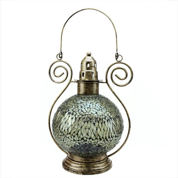"12"" Decorative Clear Smoke Mosaic Glass Tea Light Candle Holder Lantern"