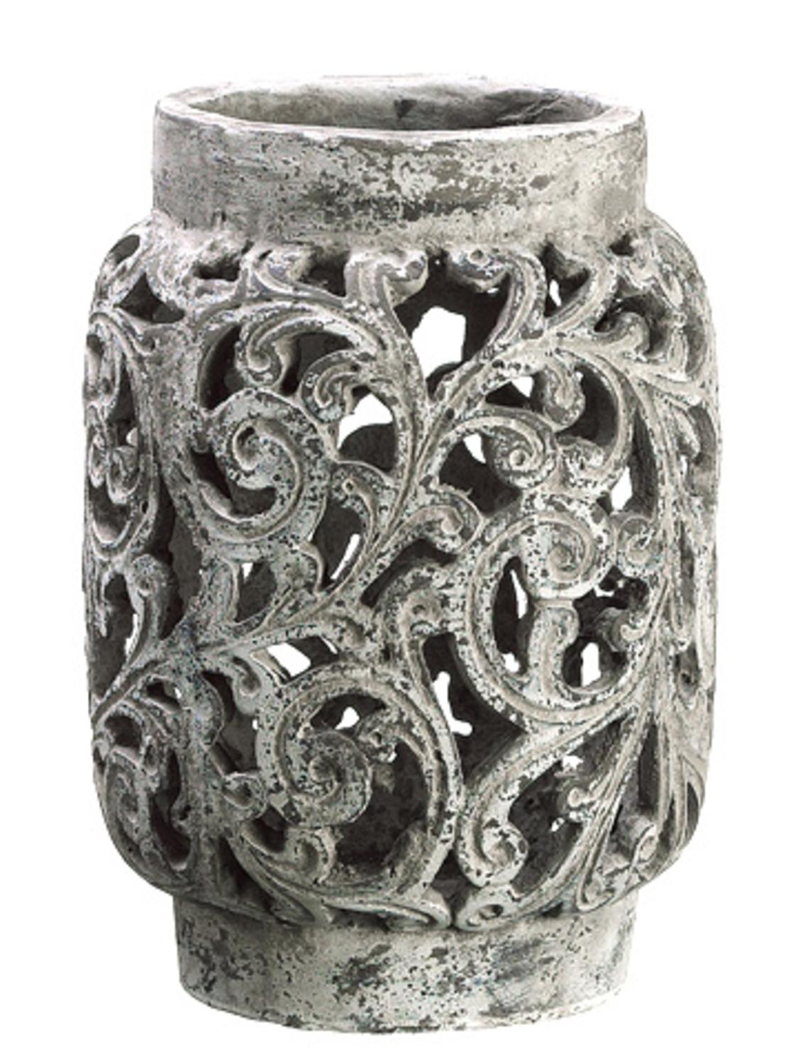 """13"""" Antique-Style Distressed Paisley Hurricane Candle Holder"""