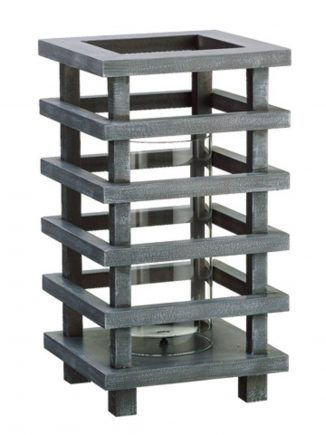 "13"" Gray Brushed Wooden Pagoda Tower Pillar Candle Holder"