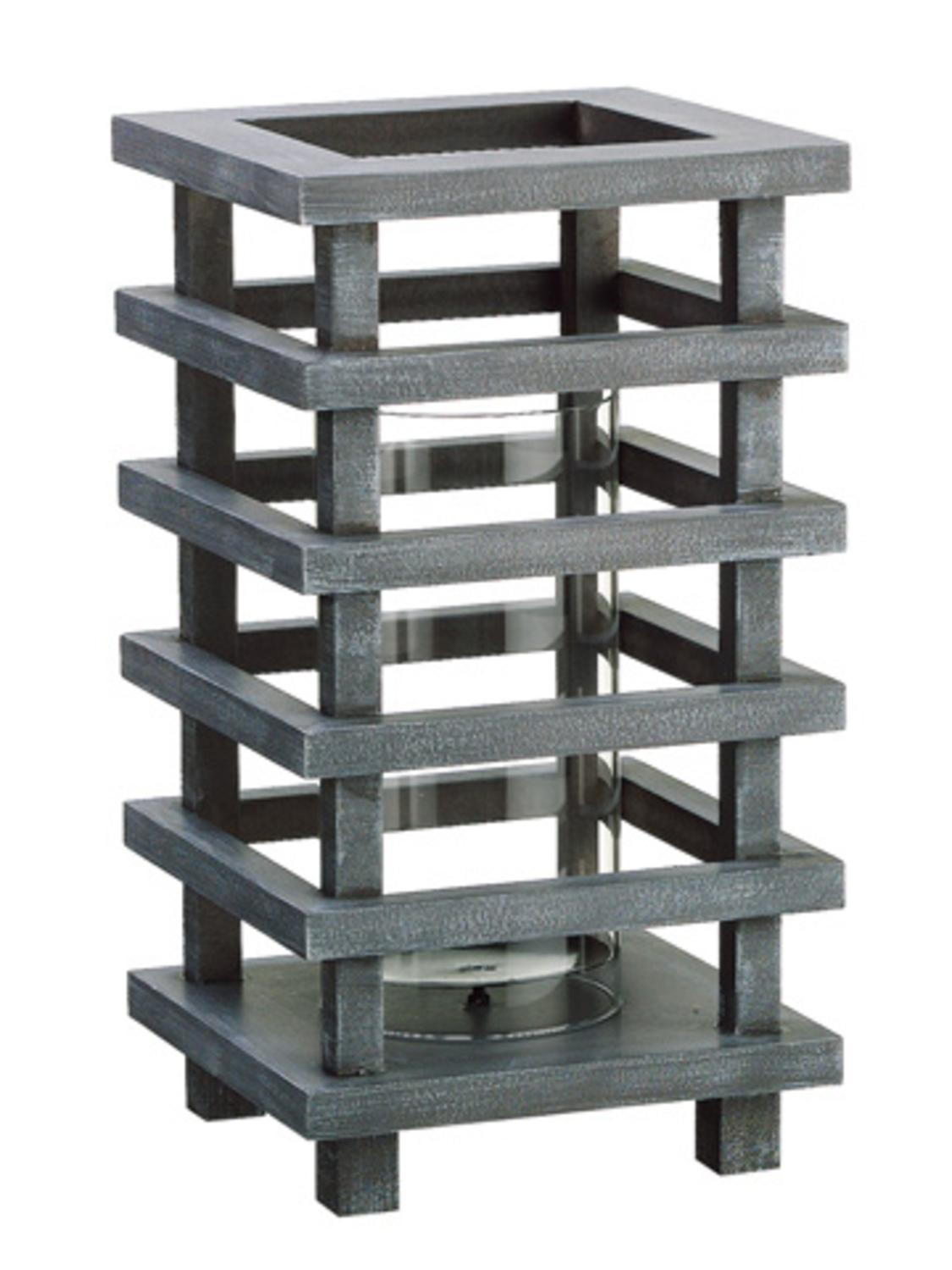 """13"""" Gray Brushed Wooden Pagoda Tower Pillar Candle Holder"""