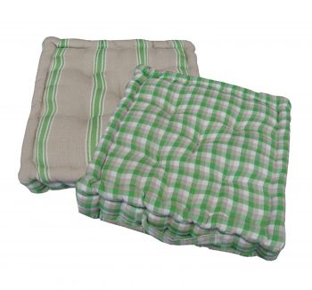 """15"""" Plush Green  White and Beige Plaid and Striped Reversible Indoor Chair Cushion"""