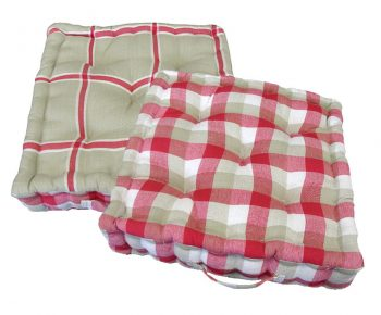 """15"""" Plush Pink  White and Beige Plaid Reversible Indoor Chair Cushion"""