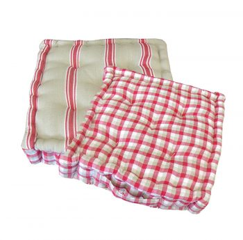 """15"""" Plush Pink  White and Beige Striped Reversible Indoor Chair Cushion"""