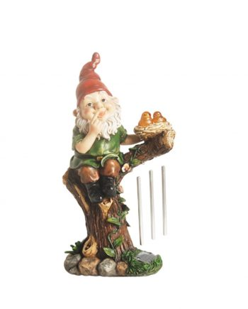 "15.75"" Forest Gnome w/ Solar Powered LED Lighted Birds Outdoor Patio Garden Wind Chime Statue"