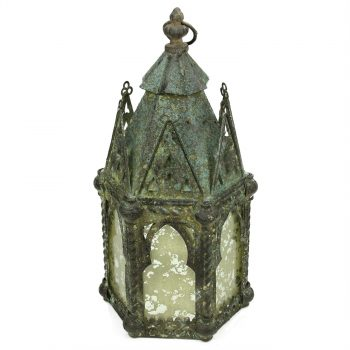 """17.25"""" Antique Weathered Verdigris Style Church Hanging Taper Candle Lantern"""