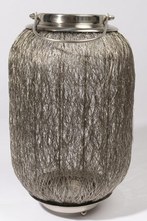 "23"" Beach Day Contemporary Chic Large Wire Woven Hurricane Pillar Candle Holder"