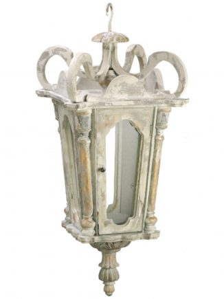 """26"""" Antique-Church Style Hanging Weathered Wood Candle Lantern"""