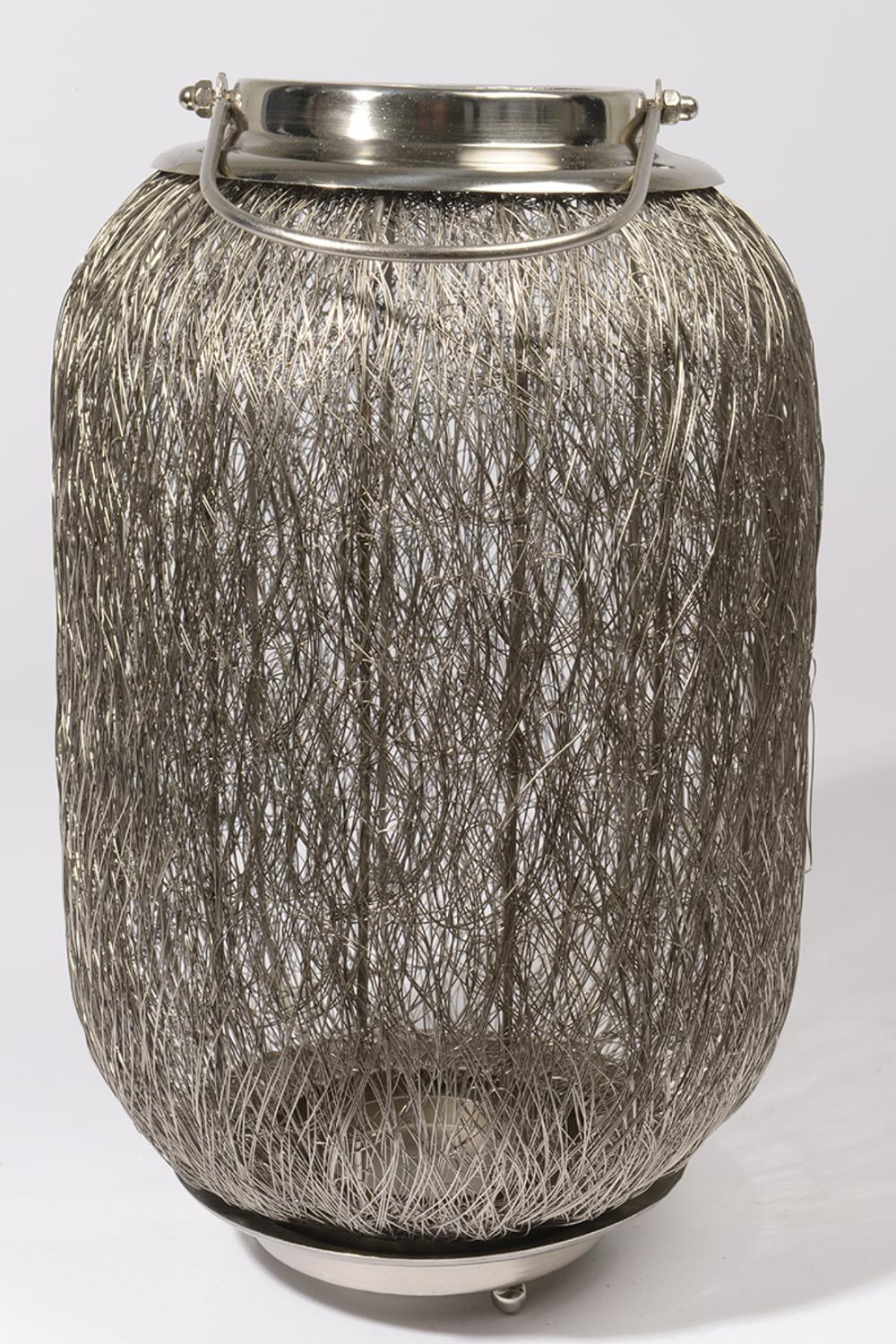 """27.25"""" Beach Day Contemporary Chic Extra Large Wire Woven Hurricane Pillar Candle Holder"""