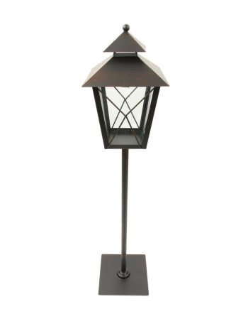 """34"""" Black and Rust Red Brushed Metal Holiday Pillar Candle Lantern Christmas Decoration"""