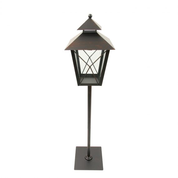 34″ Black and Rust Red Brushed Metal Holiday Pillar Candle Lantern Christmas Decoration