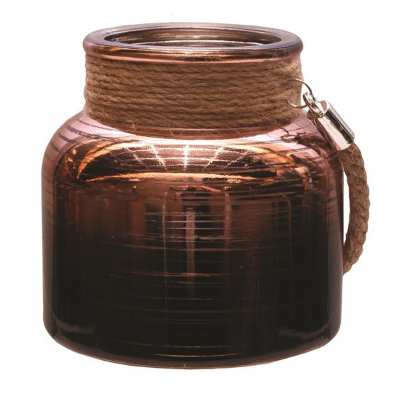 4.75″ Copper Brown Circle Design Decorative Pillar Candle Holder Lantern with Handle