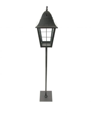 "47"" Traditional Black Metal and Glass Paned Holiday Pillar Candle Lantern Christmas Decoration"