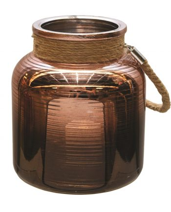"6.25"" Copper Brown Circle Design Decorative Pillar Candle Holder Lantern with Handle"