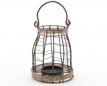 """7.5"""" Seaside Treasures Black and Copper Tea Light Candle Holder with Jute Accents"""