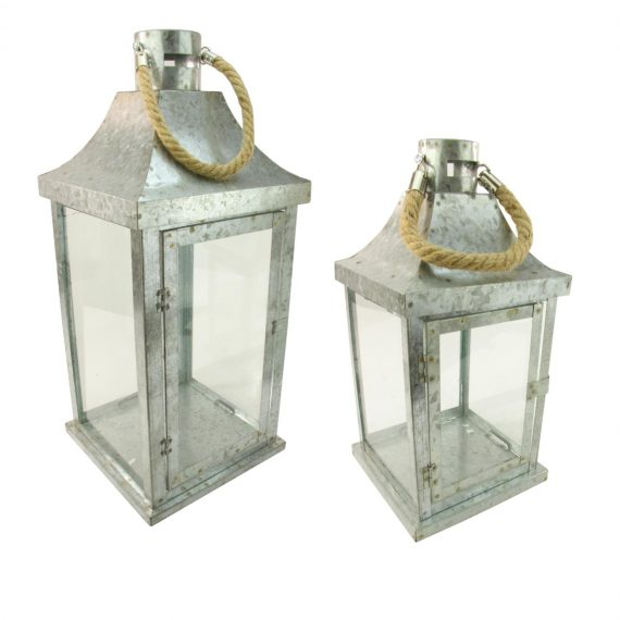 Set of 2 Industrial Flecked Metal and Glass Paneled Nesting Pillar Candle Lanterns 14″-22″