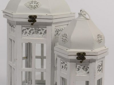 Set of 2 Vintage Rose Distressed White Hexagonal Wood Floral Pillar Candle Lanterns 19.5""