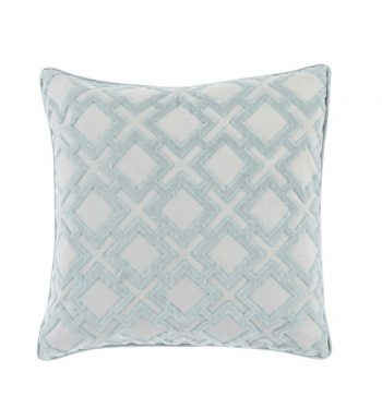 X's and Squares Air Superiority Blue and Gainsboro Gray Decorative Woven Throw Pillow - Down Filler