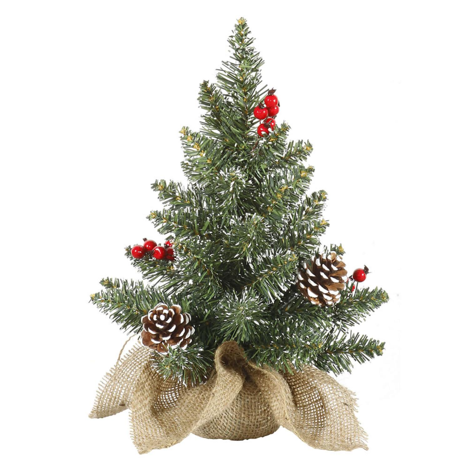 """Country Pines Christmas Tree Farms: 12"""" Frosted Pine Cone Berry Artificial Christmas Tree W"""