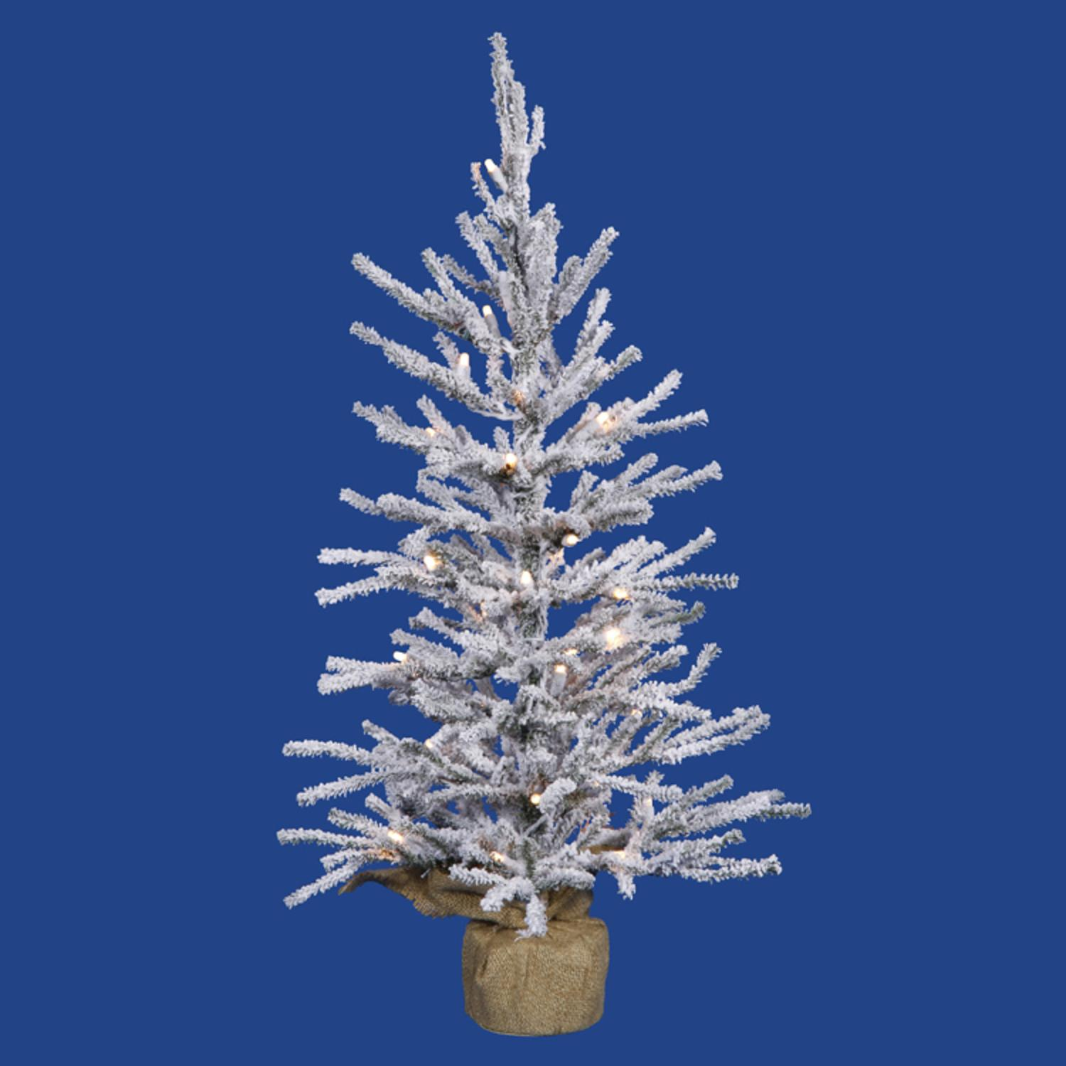 Country Pines Christmas Tree Farms: 2' Pre-Lit Flocked Angel Pine Artificial Christmas Twig