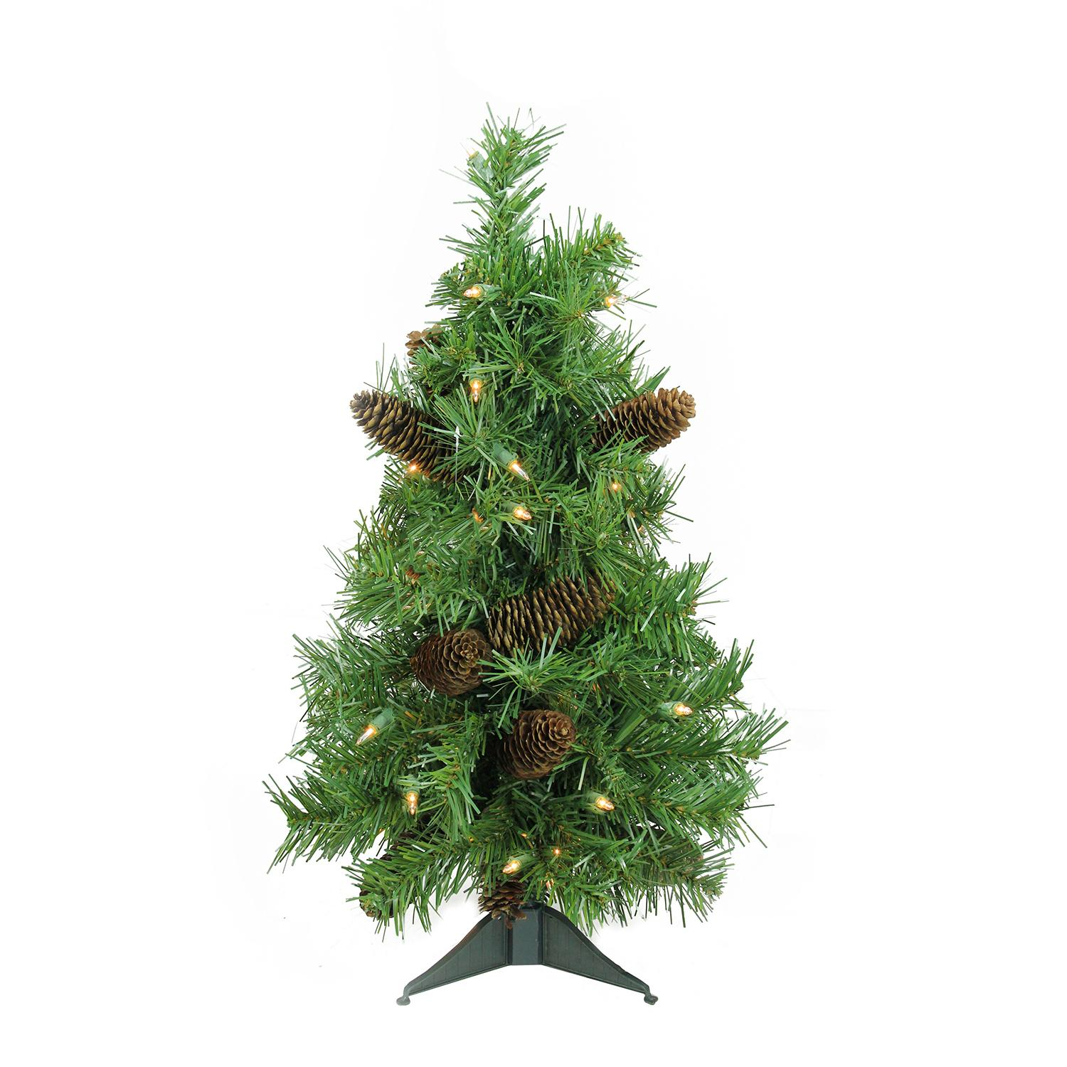 "Red Red Pine Christmas Tree: 2' X 15"" Pre-Lit Dakota Red Pine Full Artificial Christmas"