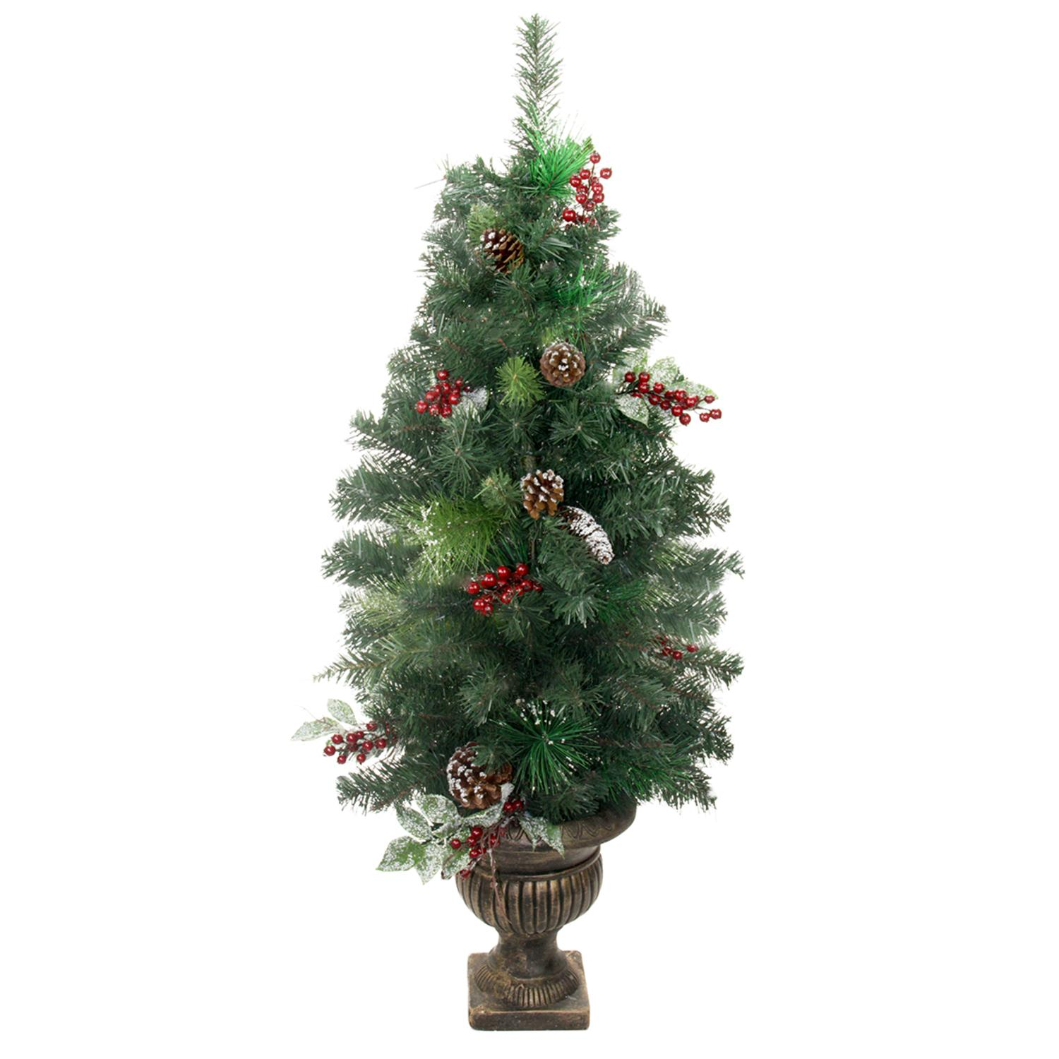 4' Potted Pre-Decorated Frosted Pine Cone Berry and Twig ...