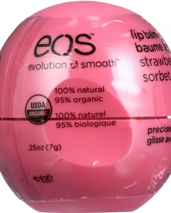EOS Products Lip Balm - Organic - Smooth Sphere - Strawberry Sorbet - .25 oz - case of 8