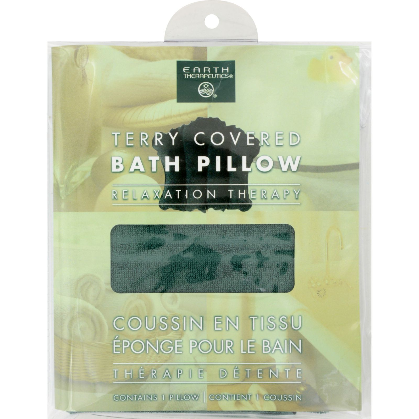 Earth Therapeutics Terry Covered Bath Pillow Dark Green