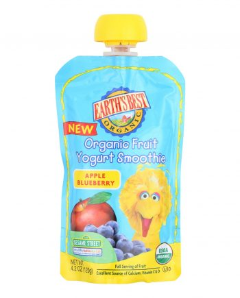 Earth's Best Organic Fruit Yogurt Smoothie - Apple Blueberry - Case of 12 - 4.2 oz.