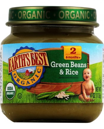 Earth's Best Organic Green Beans and Brown Rice Baby Food - Stage 2 - Case of 12 - 4 oz.
