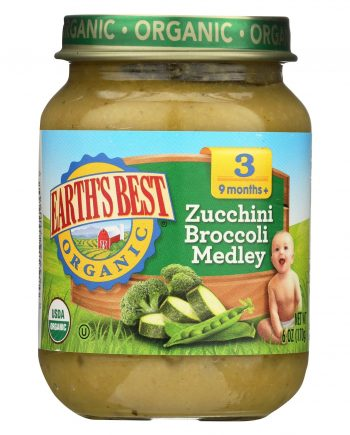 Earth's Best Organic Zucchini Broccoli Medley Baby Food - Stage 3 - Case of 12 - 6 oz.