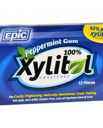 Epic Dental Peppermint Gum - Xylitol Sweetened - Case of 12 - 12 Pack