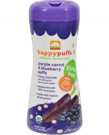 Happy Baby Happy Bites Puffs - Organic HappyPuffs Purple Carrot and Blueberry - 2.1 oz - Case of 6
