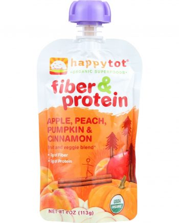 Happy Tot Toddler Food - Organic - Fiber and Protein - Stage 4 - Apple Peach Pumpkin and Cinnamon - 4 oz - case of 16