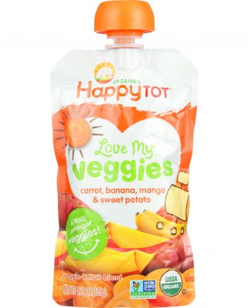 Happy Tot Toodler Food - Organic - Love My Veggies - Carrot Banana Mango and Sweet Potato - 4.22 oz - case of 16