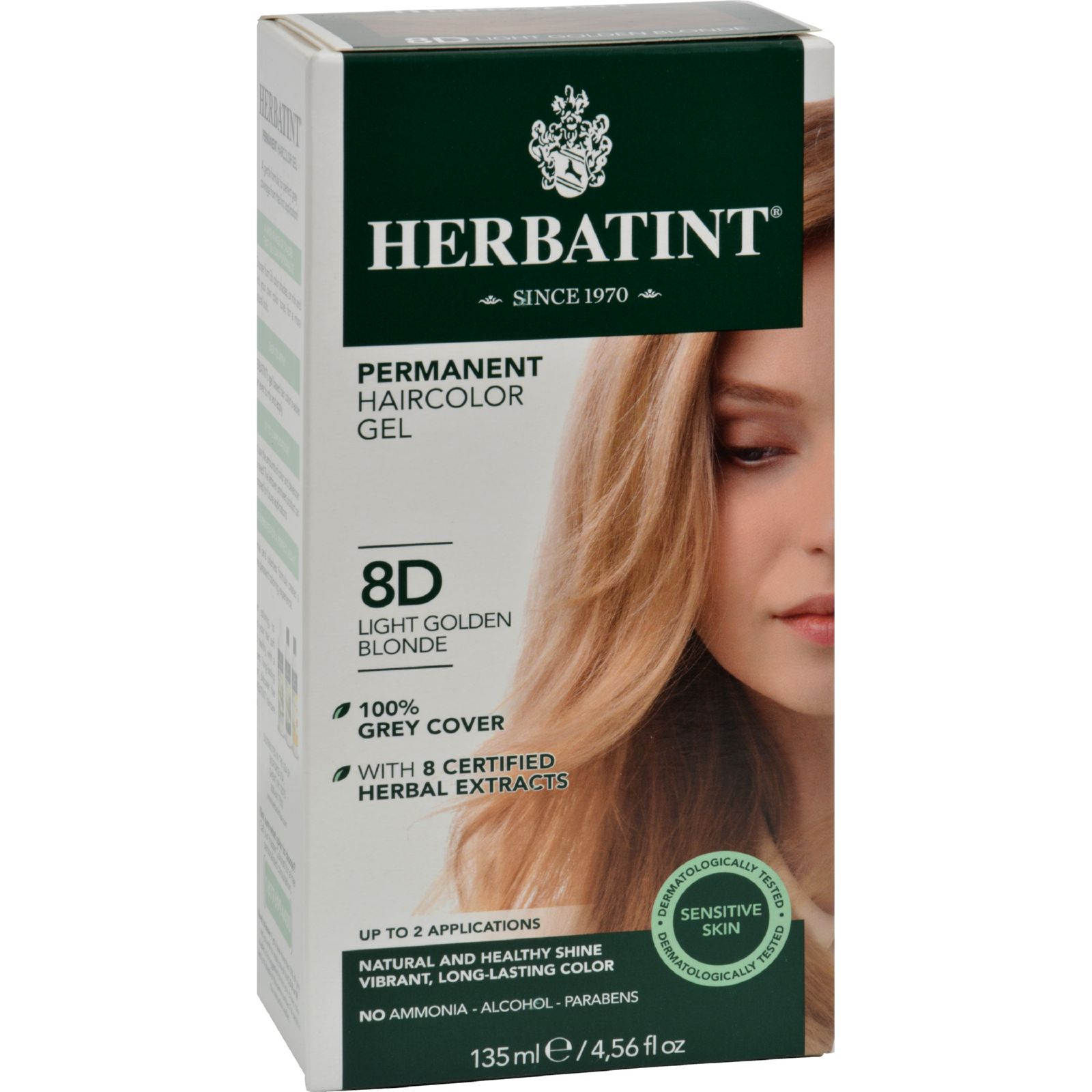 herbatint permanent herbal haircolour gel 8d light golden blonde 135 ml. Black Bedroom Furniture Sets. Home Design Ideas