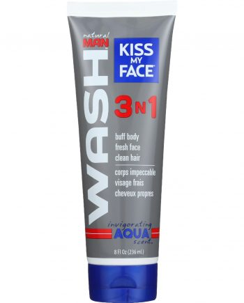Kiss My Face Body Wash - Natural Man - 3N1 All-Over - Invigorating Aqua Scent - 8 oz - 1 each