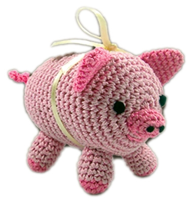 Knit Knacks Piggy Boo Organic Cotton Small Dog Toy