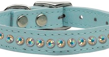 "1/2"" wide genuine leather adorned with premium rim set Aurora Borealis crystals.-Blue"