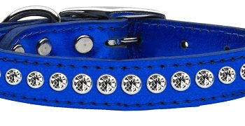 "1/2"" wide metallic genuine leather adorned with premium rim set crystals.-Blue"