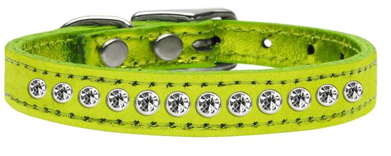 """1/2"""" wide metallic genuine leather adorned with premium rim set crystals.-Lime Green"""