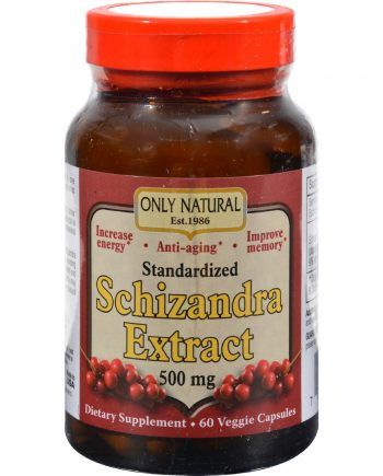 Only Natural Schizandra Extract - 500 mg - 60 Veggie Capsules