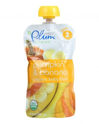 Plum Organics Baby Food - Organic -Pumpkin and Banana - Stage 2 - 6 Months and Up - 3.5 .oz - Case of 6
