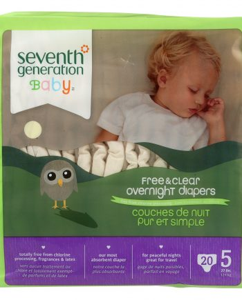 Seventh Generation Free and Clear Overnight Diapers - Stage 5 - Case of 4 - 20 Count