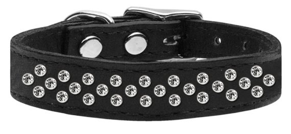 """3/4"""" wide genuine leather adorned with premium rim set crystals in our Sprinkles pattern.-Black"""