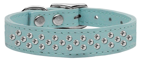 """3/4"""" wide genuine leather adorned with premium rim set crystals in our Sprinkles pattern.-Blue"""