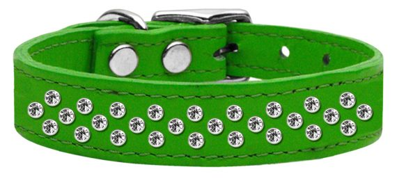 """3/4"""" wide genuine leather adorned with premium rim set crystals in our Sprinkles pattern.-Green"""